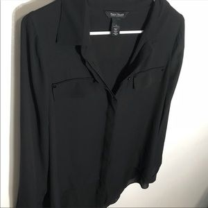 WHBM Black Button-Up Collared Blouse | 6